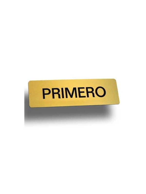 Rótulo aluminio Mod. C - Rótulo pisos aluminio dorado. Medida: 33x10 cm.
