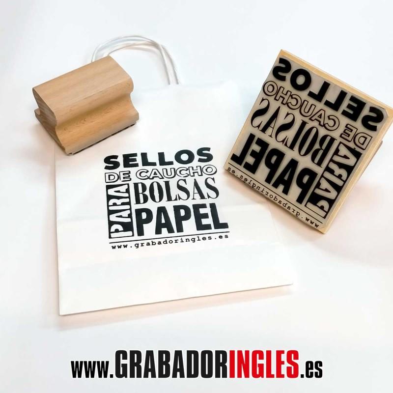 Sello de caucho 20 x 10 cm. para bolsa de papel - Sello de caucho 20 x 10 cm. para bolsas de papel Kraft