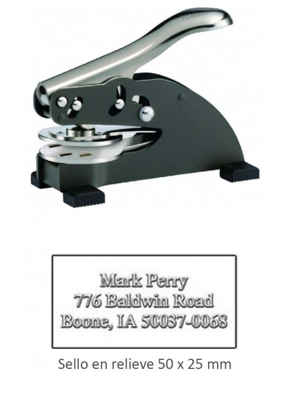 Palanca sello en seco ED 50x25 mm. - Palanca sello en seco para marcar en relieve papeles de hasta 250 gr.